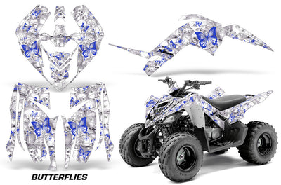 Skulls & Butterflies - White Background Blue Design