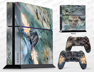 Sony PlayStation 4 Graphics - Console Skin with 2 Controller Skins - Zombie Skies