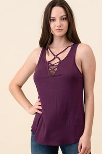 Women's purple rayon criss cross sleeveless tank top