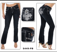 Sexy Couture - Women's Rhinestone Boot Cut Jeans