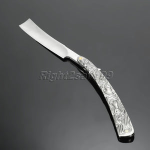 Stainless Steel Handle Straight Razor Folding Knife Shaving Set