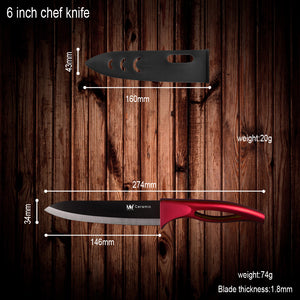 4 Pieces Black Blade Red Handel Ceramic Knives With Peeler And Acrylic Kitchen Knife Stand
