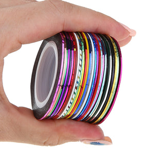 30pcs 2m Nail Art 3D Striping Tape