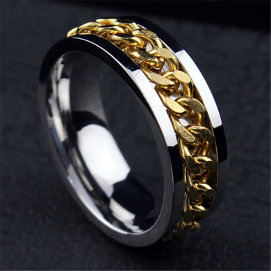 European Simple Titanium Steel 18K gold plated ring for men
