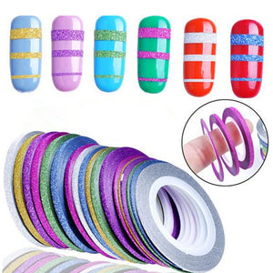10 Rolls Glitter Nail Art Striping Tape