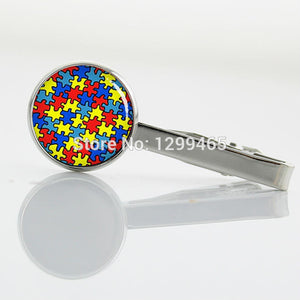 Autism Heart silver metal tie pin Fashion simple autism tie tacks