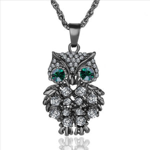 Owl Necklaces&Pendants Vintage Crystal Gem Gold Chain