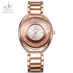 SK Fashion Women's Wrist Watches with Diamond Golden Watchband