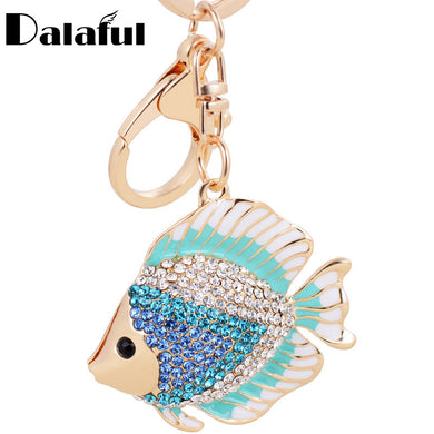 Dalaful Crystal and Rhinestone Fish Keychain