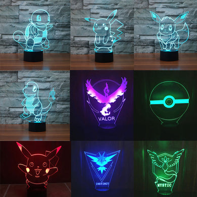Pokemon LED Night Light  3D Illusion lamp Pokemon go Table Lamp