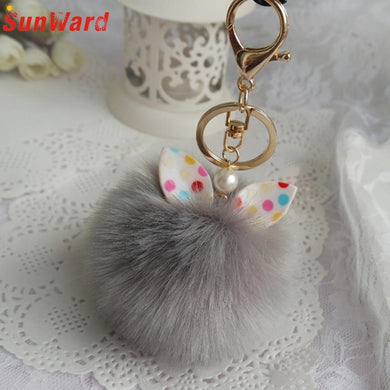 Cute Faux Rabbit Fur Ball Keychain