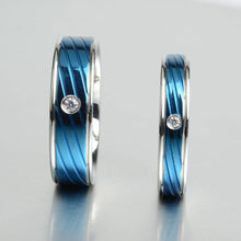 Keisha Lena thin blue line rings men stainless steel Ring blue Titanium rings with bright stone