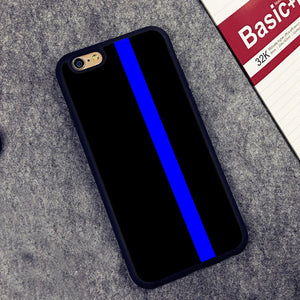 THIN BLUE LINE Police Printed Soft TPU Skin Cell Phone Cases For iPhone