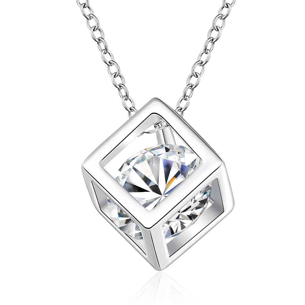 Fashion jewelry silver necklace chain cube zircon pendant
