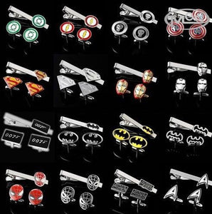 Superhero design mens tie clips and cufflinks