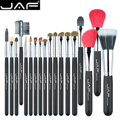 JAF 18 Pcs Professional Make Up Brush Set Natural Super Soft Red Goat Hair