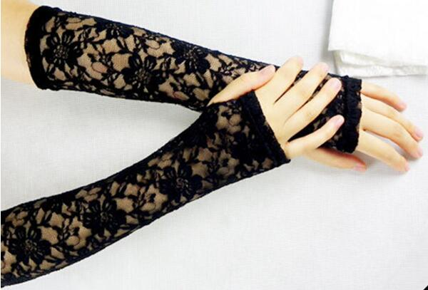 Womens Lace Flower Arm Warmers