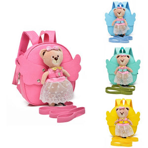 Leather Baby Keeper Cute Angel BearAnti-lost Walking Backpack