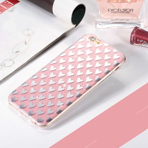 IPhone 6 6s Plus 5 5s SE 7 7Plus Bling Sparkling Heart Silicone Soft Cover