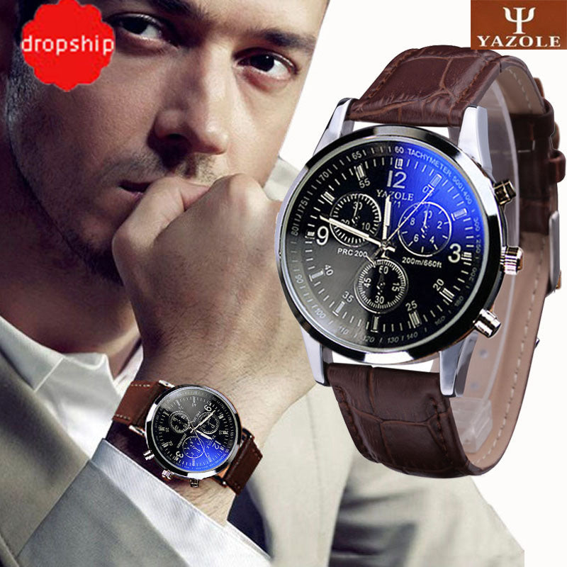 Luxury Faux Leather Men Blue Ray Glass Quartz Analog Watch