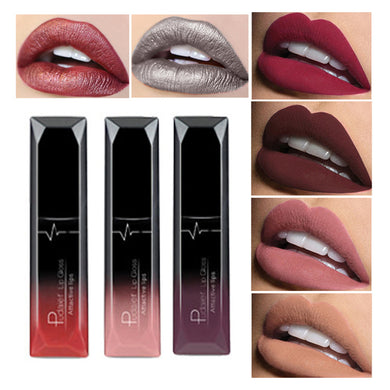 Pudaier Brand Makeup Lip Gloss Cosmetics Long Lasting Pigment Metallic