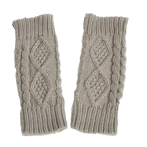 Womens Double-Sided Wool Half Finger Gloves