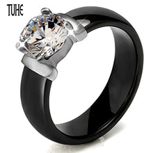 6mm White Black Ceramic Rings Plus Big Cubic Zirconia For Women