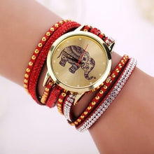 Elephant Quartz Watch Multilayer Leather and Rhinestone