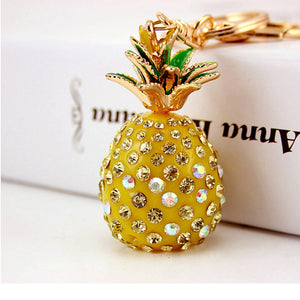 Tropical Fruit Pineapple Crystal Keychains