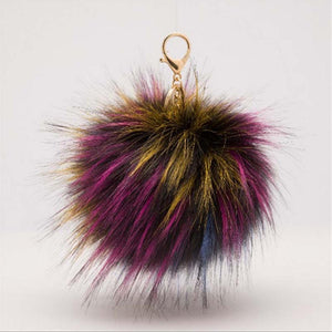 Women Pendant Faux Fur Chain Bag Multi-color Fluffy Ball Key Ring 13cm Fashion