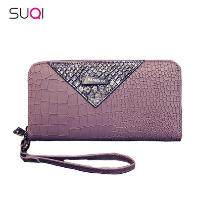 SUQI Women Wallet Crocodile Pattern