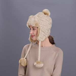 Bomber Hats Cotton Fur Winter Earflap Keep Warm Caps