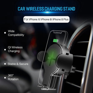 Qi Wireless Car-Charger, Wireless Car Charger Stand for iPhone X 8 plus Galaxy Note 8 S8 S7 S6