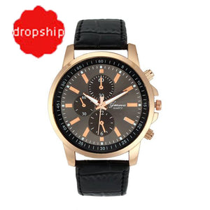 Geneva Faux Leather Band Quartz Watch