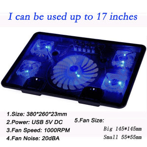 "Professional external Laptop Cooler Pad 14"" 15.6"" 17"" with 5 fans 2 USB Ports"
