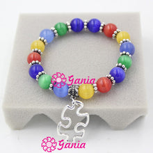 Autism Awareness Bracelet 10mm Opal Beaded Bracelet