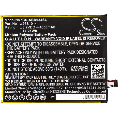 Cameron Sino 4650mAh battery for Amazon Kindle Fire 8 7 Generation,  SX034QT,  Kindle Fire 8.7,  SX0340T