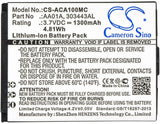 1300mAh Battery for ACTIVEON LX, DX, LKA10W-B, DKA10W-B