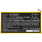 New Replacement 6000mAh Battery for Acer Iconia One 10 B3-A40; P/N:PR-279594N,PR-279594N(1ICP3/95/94-2)