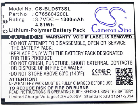 1300mAh / 4.81Wh Replacement battery for BLU D572,Studio 5.0S II