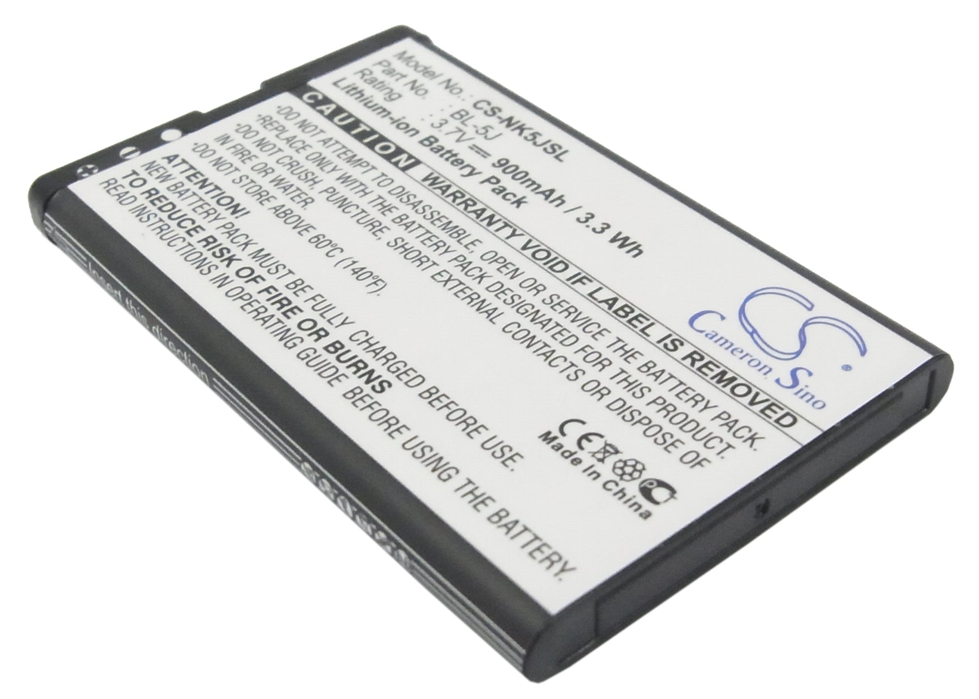 Cameron sino battery for nokia for asha 200, 201, 5230, 5800.