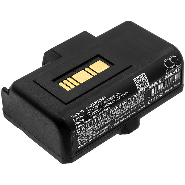 Zebra RW220,RW320; P/N:AK18026-002,CT17497-1 Battery