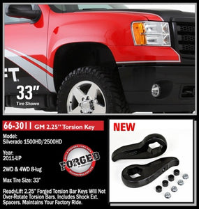ReadyLIFT 2011-18 CHEV/GMC 2500/3500HD 2.25'' Front Leveling Kit (Forged Torsion Key)