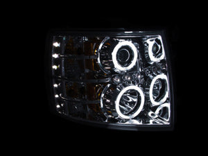 ANZO 2007-2013 Chevrolet Silverado 1500 Projector Headlights w/ Halo Chrome