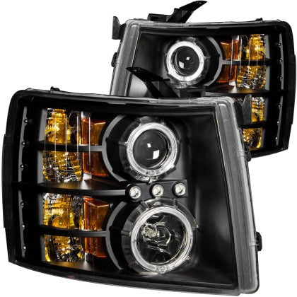 ANZO 2007-2013 Chevrolet Silverado 1500 Projector Headlights w/ Halo Black