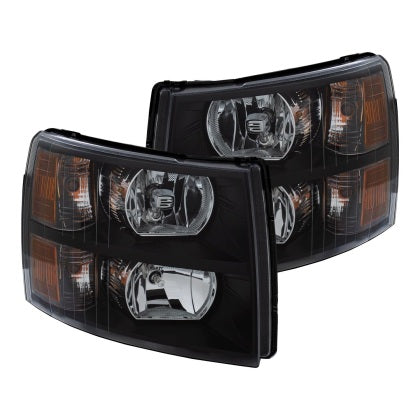 ANZO 2007-2013 Chevrolet Silverado Crystal Headlights Black