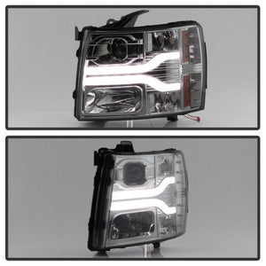 Spyder Chevy Silverado 1500 07-13 Version 3 Projector Headlights - Smoke PRO-YD-CS07V3-LBDRL-SM