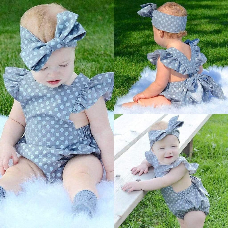 """Aida"" Gray Polka Dot Romper With Headbow - The Palm Beach Baby"