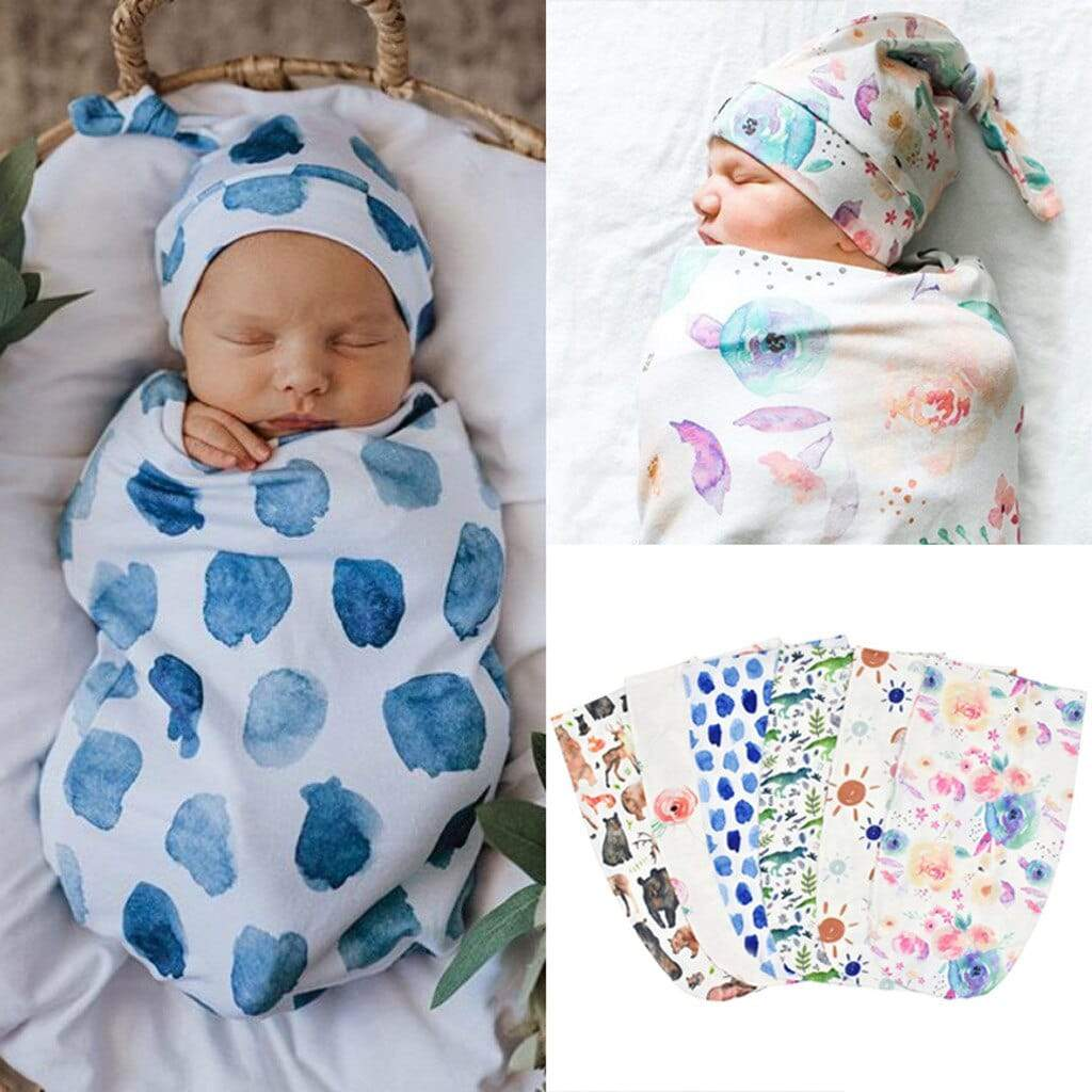 2 PC Infants Swaddle Wrap With Matching Cap - The Palm Beach Baby