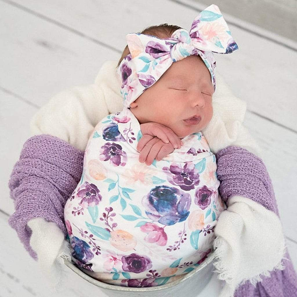 Newborn Violet Swaddle 3 PC Set - The Palm Beach Baby